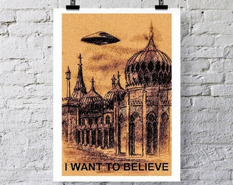 I want to believe!  Flying saucer over Brighton Pavilion.  Art print/Greetings card