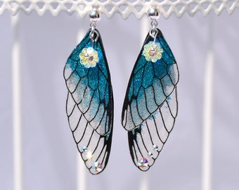 "Fairy wings - fairy wings-studs ""Fairy"" Turquoise - glitter - 925 sterling silver"