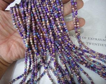 "4mm purple impression jasper round beads, 16"" strand long"