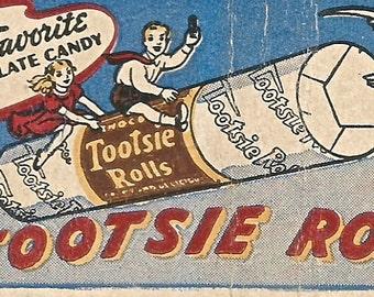 Vintage Tootsie Rolls advertising matchbook matches digital download printable image 300 dpi