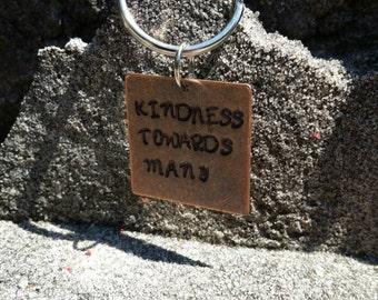 "Handstamped ""kindness"" keychain"
