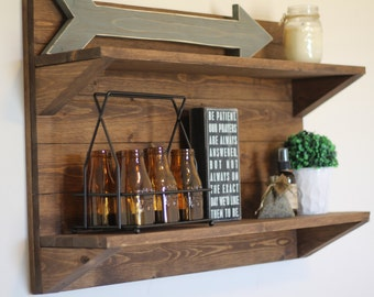 Horizontal Rustic Wooden Shelf Rustic Shelf Rustic Furniture Wooden Shelf Rustic Home