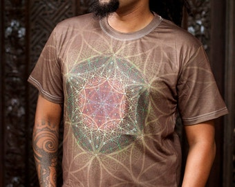 HEARTRA  Men's cotton T-shirt / Flower of life shirt / Mandala Tshirt / Crystalotus Shirt, psychedelic tee, festival shirt, sacred geometry