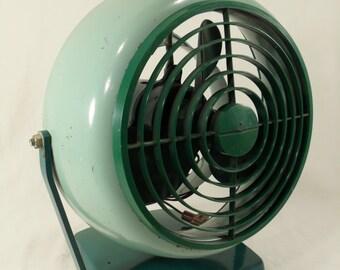 Vintage green retro desk fan vornado style