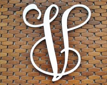 """Letter """"V"""" 12-20 Inch Wood Script Monogram. Wood Monogram."""