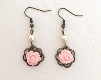 Pearl And Rose Dangle Earrings