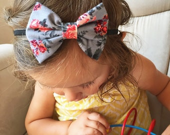 Gray Floral bow