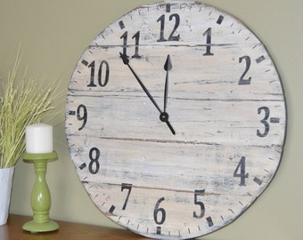 "24"" Large Oversized Distressed Wood Wall Clock, rustic cream with black numbers"