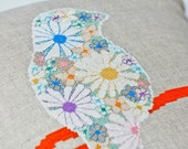 Floral Finch cushion cover modern cross stitch kit