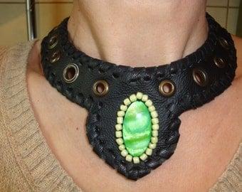 Necklace Choker Leather black