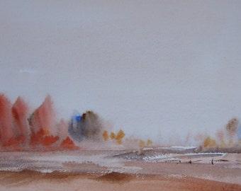 Autumn. Original Watercolour Landscape Painting.