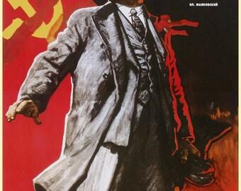 """URSS """"Lenin lived, Lenin lives, Lenin will live forever"""" communist propaganda poster"""
