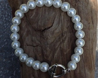 Beaded pearl bracelet, Pearl Glass beads, pearl bracelet, wedding gift pearl jewelry, brides maid gifts, wedding jewelry