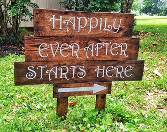 "Wedding rustic wood sign ""happily ever after"""