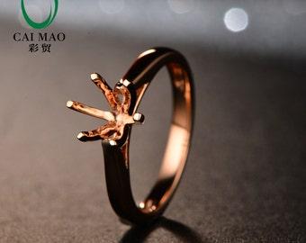 Vintage Design 6.0mm Round 14kt Rose Gold Semi Mount Ring Free Shipping