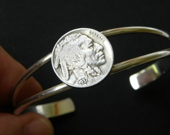 1930 to 1937 Native American Authentic Buffalo Indian Nickel coin various dates handmade soldered cuff bracelet wristband