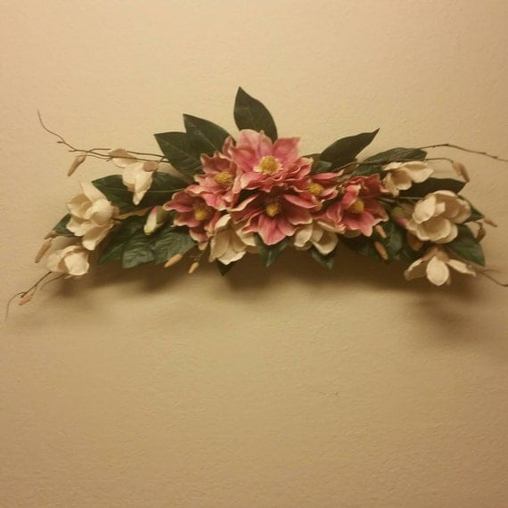 Silk Floral Wall Swag Pink And Cream Floral Arrangement