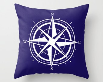 Compass Pillow Cover - Navy Blue and White - Modern Pillow Cover - Compass Graphic Pillow - Nautical Home Decor - By Aldari Home