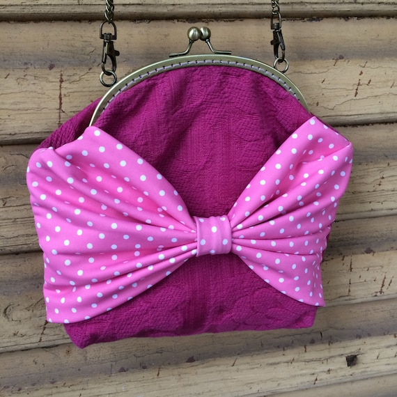 Pink purse with large polka dot bow / crossbody purse by ...