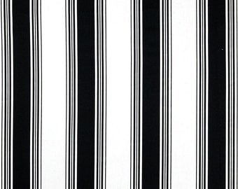 Classic Black & White Stripe Home Decor Fabric by the Yard Designer Cotton Drapery or Upholstery Fabric Neutral Black Stripe Fabric B169