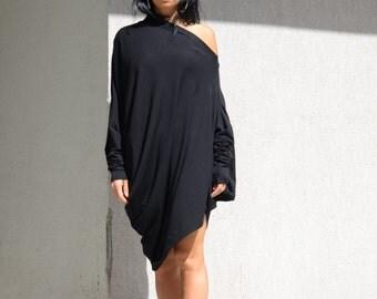 Tunics, asymmetric, oversize shirt, black shirt, cut out shirt, long sleeve shirt, extravagant shirt, women black shirt, asymmetric tunic