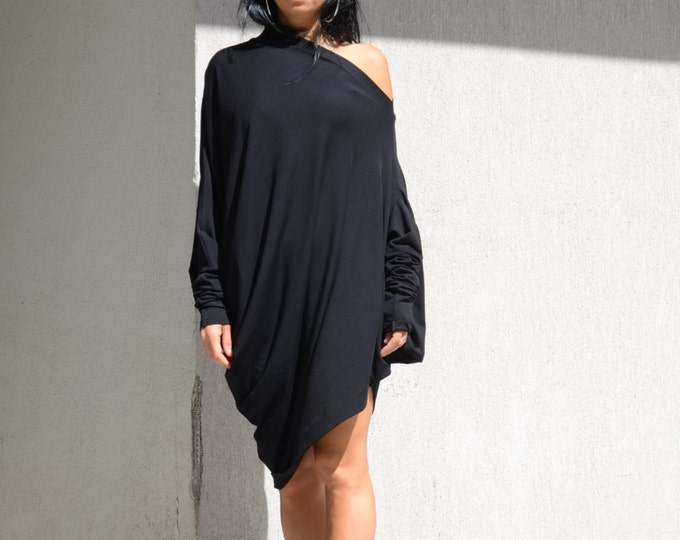 Featured listing image: Tunics, asymmetric, oversize shirt, black shirt, cut out shirt, long sleeve shirt, extravagant shirt, women black shirt, asymmetric tunic