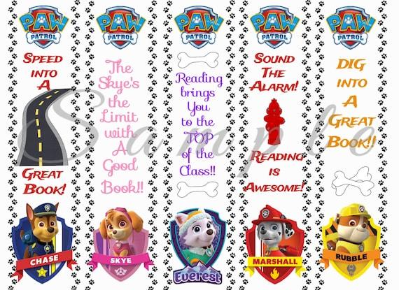 Paw Patrol Party Favor Bookmarks Digital Printable Instant