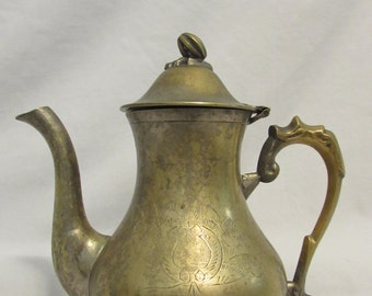 Solid Brass Teapot, Floral Motif, India, 1960's