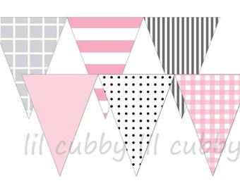 Printable Pennant Party Banner DIY - Pink, Grey & Black
