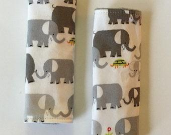 Organic Elephants Reversible Car Seat Strap Covers
