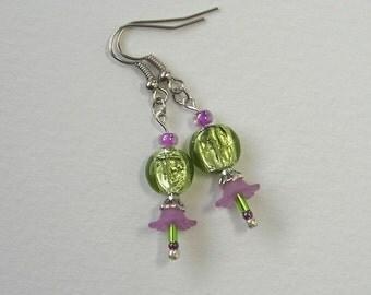 SALE  Bellflower Earrings, Purple, Green, Silver, Czech Glass