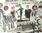 1940s movie ephemera pack: 45 vintage paper ephemera pieces including titles, pictures, die cuts. Kit for scrapbooks, journals, collage.