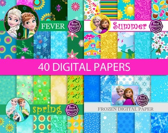 SALE 40 digital paper *  Palette inspired by Disney's FROZEN movie *  Printable, Instant Download