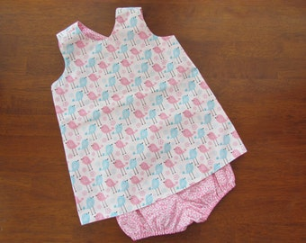 SALE ITEM - 20% Off!! Baby Girl Pink & Blue Bird Reversible Dress RTS Ready to Ship
