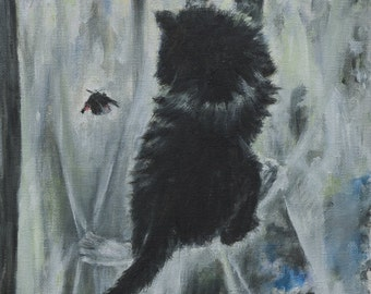 "Oil Painting - Jump - Original Artwork, Home Decor, Living Room Decor, Wall Hanging Art, Animal, Kitten, 10""x14"""
