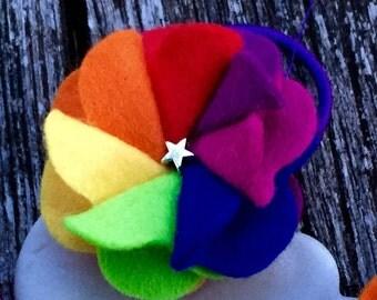 Rainbow hair bobble, ponytail holder, ROYGBIV, multicoloured hair accessory, rainbow hair tie, red orange yellow green blue purple