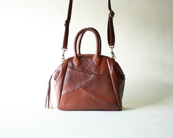 Cascadia in Brown - Genuine Leather Handbag with detachable cross body strap