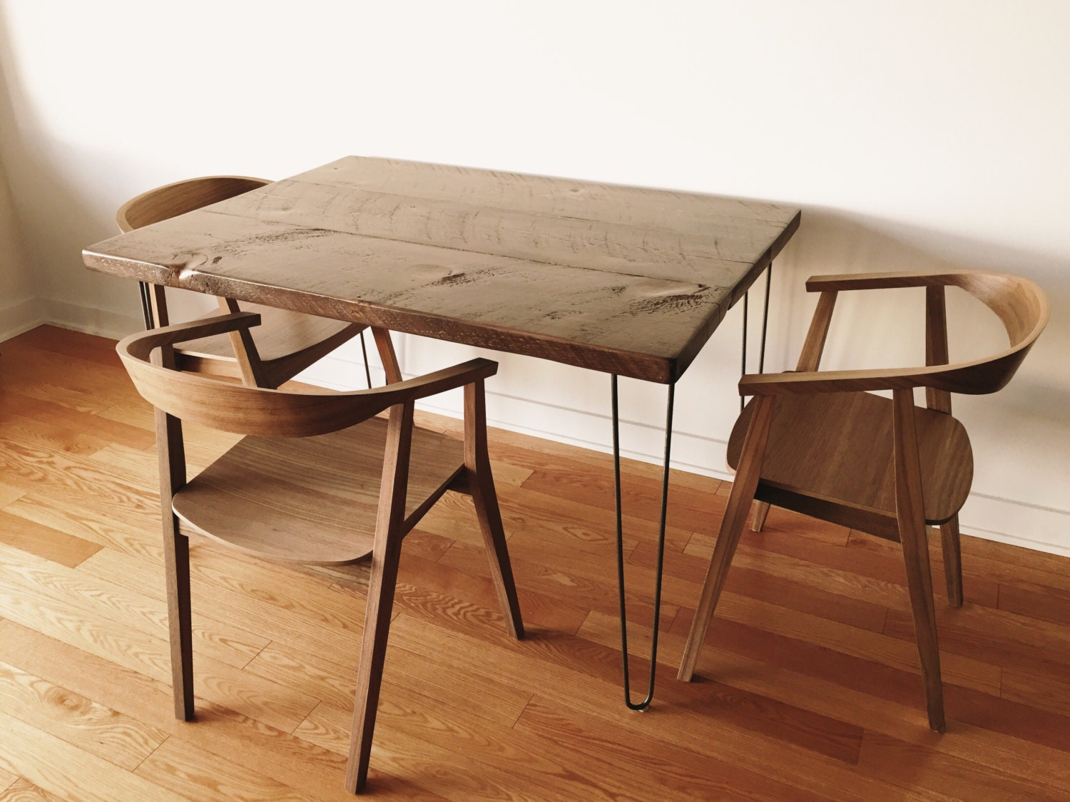 Reclaimed Wood Dining Table With Hairpin Legs By Ateliereben