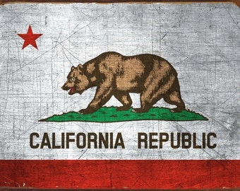 California State Flag Metal Sign, Americana, Rustic Décor, HB7092