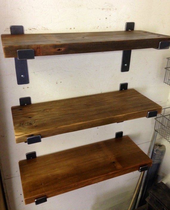 wood shelf 28 x 9 5 with two handcrafted metal shelf brackets