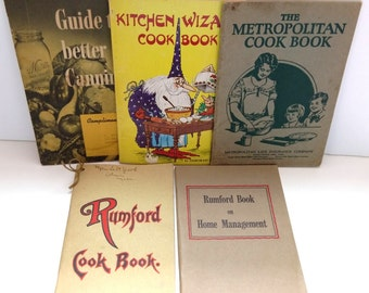 Homemaker Cook Books Rumford Metropolitan Kerr Canning Home Management Lot 5 old collectible books