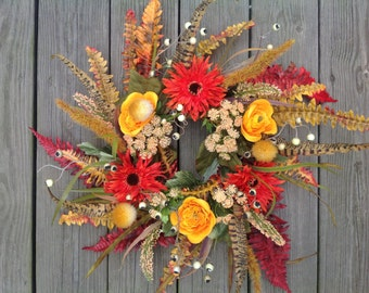 Whispy Wreath, fall wreath, autumn door hanging, candle ring, natural looking wreath, Thanksgiving wreath