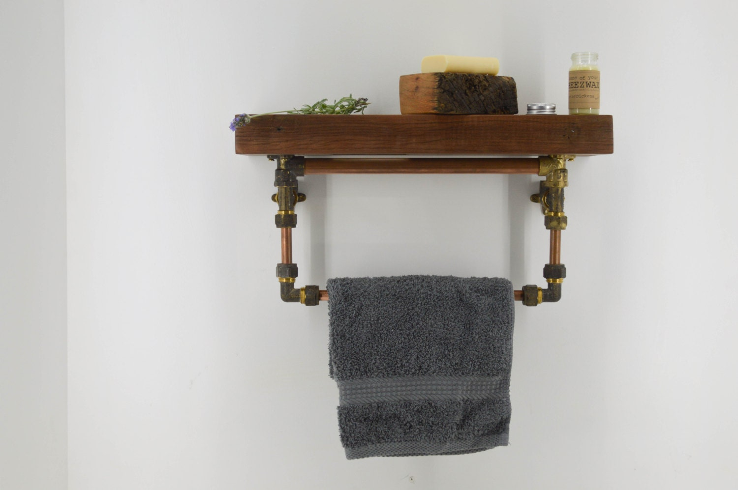 bathroom shelf with towel rail rack wood copper and brass. Black Bedroom Furniture Sets. Home Design Ideas