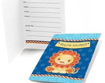 Lion Boy Party Fill In Invitations - Baby Shower or Birthday Party Fill In Invitation - Party Supplies - Set of 8