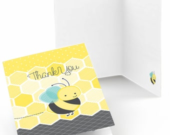 Set of 8 Honey Bee Thank You Cards - Baby Shower, Birthday or Grandma-To-BEE Party Thank You's