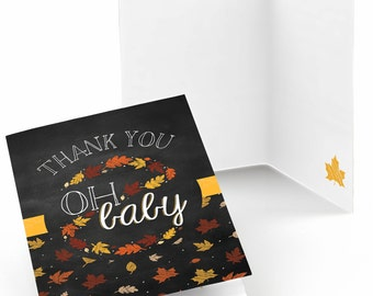 Set of 8 Oh Baby - Fall Thank You Cards - Party Supplies