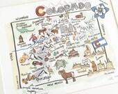 Colorado Art, Colorado Map, Colorado Print, Unframed, Print Signed by Artist, Printed on watercolor paper