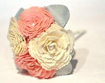 Cream and pink Flower girl bouquet /  everlasting bouquet / toss bouquet / felt bouquet / Flower girl gift / present / alternative wedding