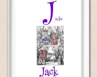 Nursery Art Alphabet Print Alice in Wonderland J is for Jack A095
