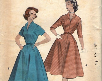 Vintage 1950s Butterick Sewing Pattern 7028- Misses' Dress size 16 bust 34""